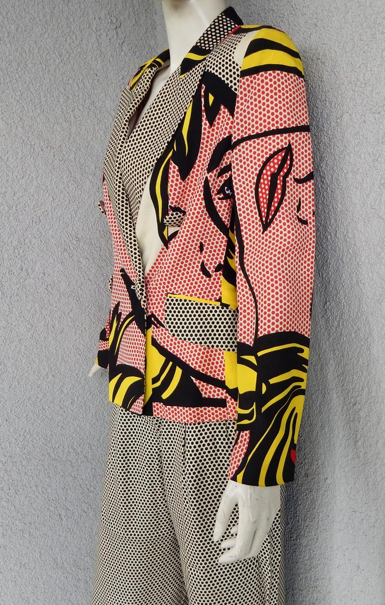 Moschino Rare Roy Lichtenstein Jacket and Pants Suit S/S 1991 In Excellent Condition For Sale In Los Angeles, CA