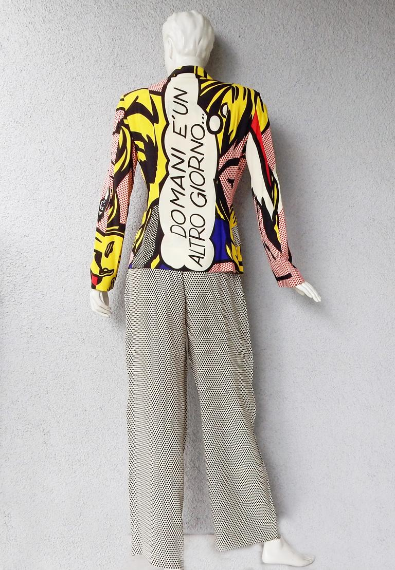 Women's  Moschino Rare Roy Lichtenstein Jacket and Pants Suit S/S 1991 For Sale