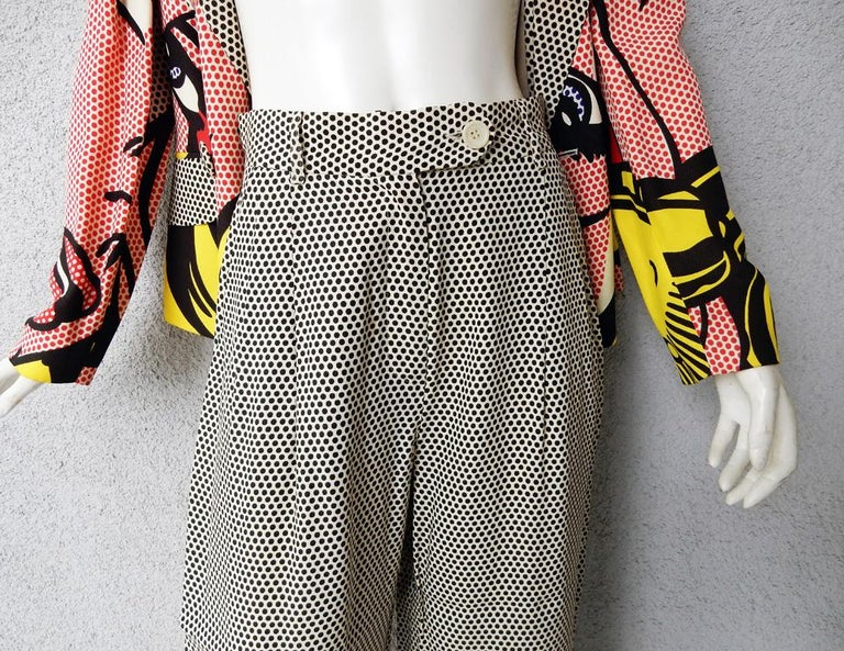 Moschino Rare Roy Lichtenstein Jacket and Pants Suit S/S 1991 For Sale 2