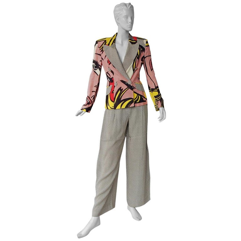 Moschino Rare Roy Lichtenstein Jacket and Pants Suit S/S 1991 For Sale