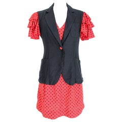 Moschino Red Black Polka Dot Cocktail Jacket and Dress Set 1990s Vintage