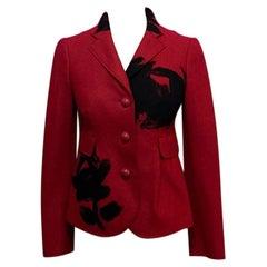 Moschino Red Black Wool Riding Jacket