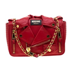 Moschino Red Leather Capsule Biker Jacket Shoulder Bag