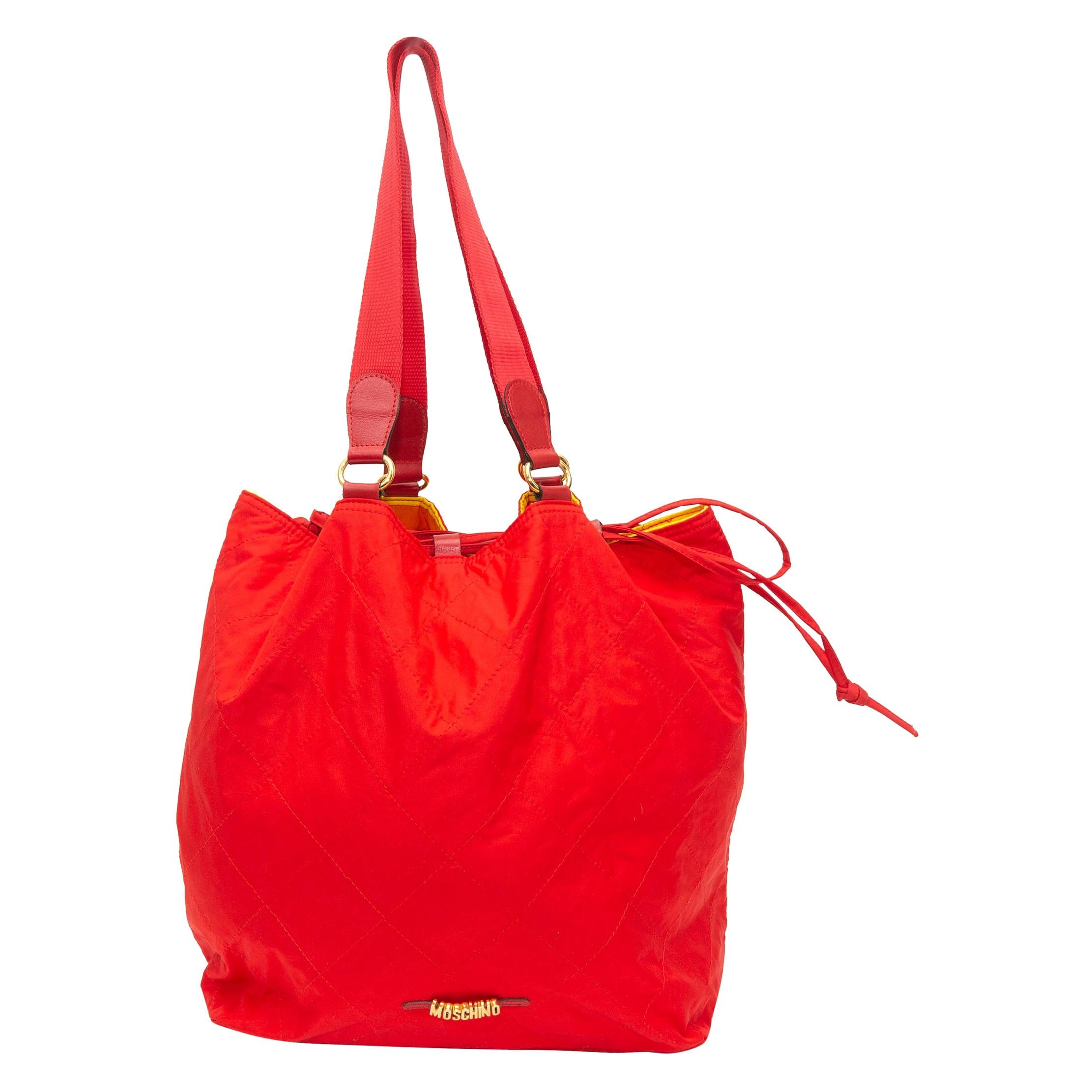 Moschino Red Reversible Nylon Bag