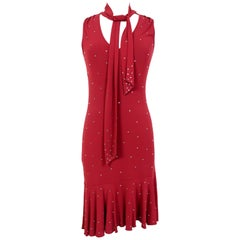 Moschino Red Rhinestone Long Evening Dress