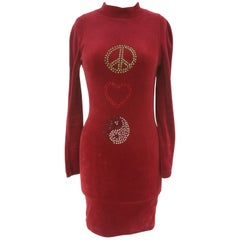 Moschino Red Velvet Peace Dress