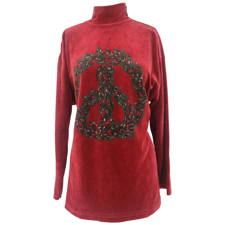 Moschino red velvet t-shirt