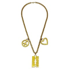 Moschino Redwall Italian 1990s Charm Necklace
