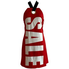 Moschino Sale Tag Halter Dress White and Red