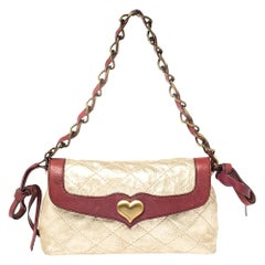 Moschino Shimmery Gold Suede and Leather Shoulder Bag