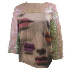 Moschino silk sequins mouth shirt