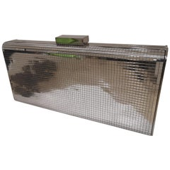 Moschino silver mirrored clutch shoulder bag NWOT