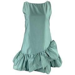 MOSCHINO Size 10 Aqua Teal Silk Blend Satin Ruffle Dress