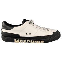 MOSCHINO Size 12 White & Black Leather Logo Lace Up Sneakers