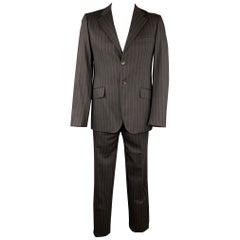 MOSCHINO Size 42 Regular Black Stripe Wool Blend Notch Lapel Suit