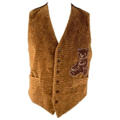 MOSCHINO Size 44 Brown Textured Cotton Bear Embroidery Buttoned Vest