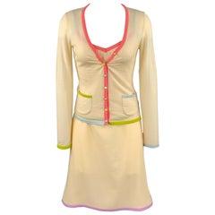 MOSCHINO Size 6 Cream Jersey Virgin Wool 3 Piece Skirt Set