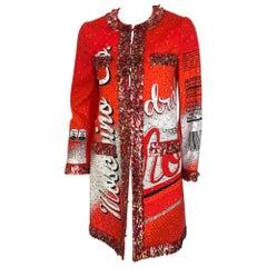 MOSCHINO Soda print coat with aluminum trim