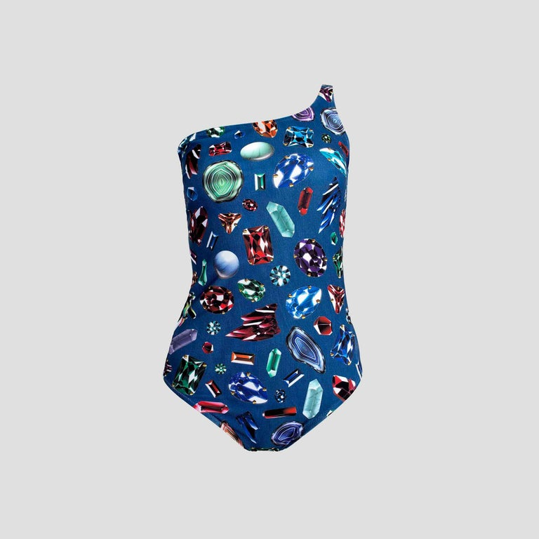 Moschino Swim One-Shoulder Denim & Jewel Print Swimsuit New With Tags For Sale 1