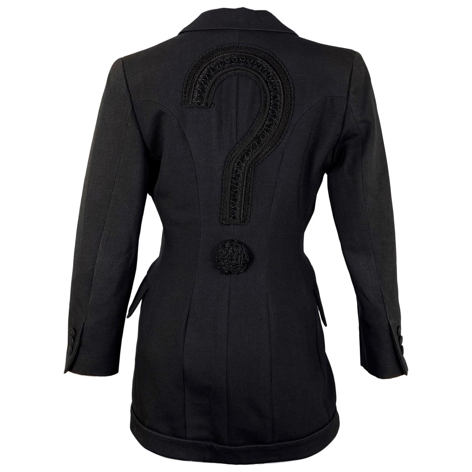MOSCHINO Upside Down Collar Passementerie Pompom Question Mark Blazer Jacket