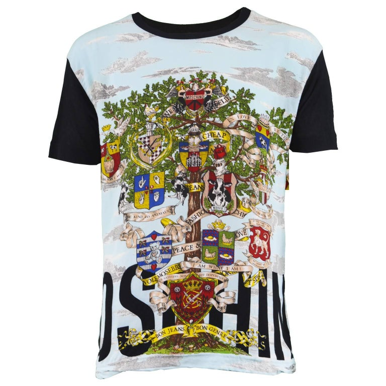 Moschino Vintage 1990's Men's Unisex Rayon & Mesh Printed Short Sleeve T Shirt