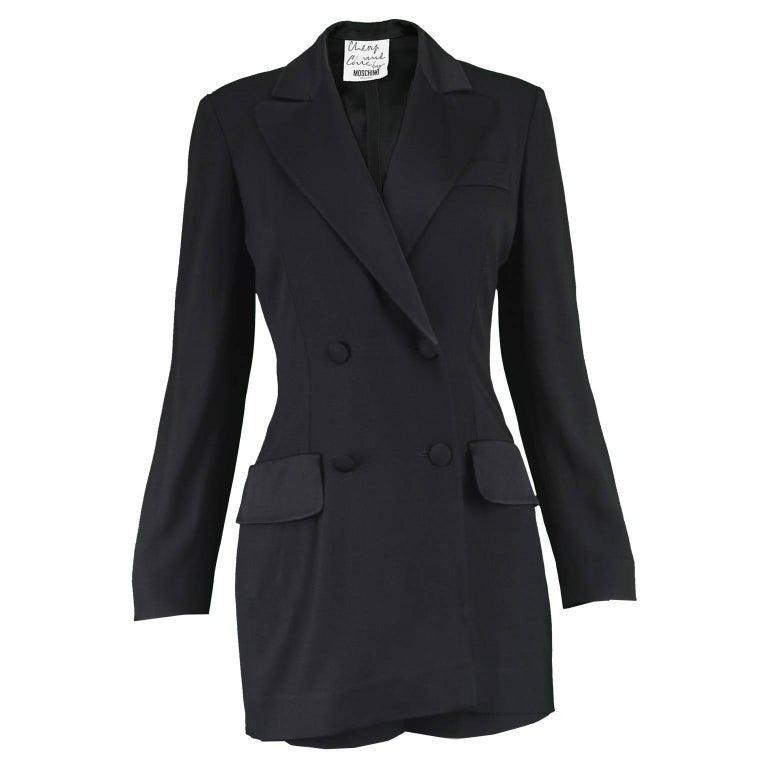 Moschino Vintage 1990s Playsuit Black Crepe Tuxedo Suit Built in Shorts Romper