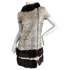 Moschino Vintage 60's Style Fur Trim Crystal Embellished Zip Up Mini Dress