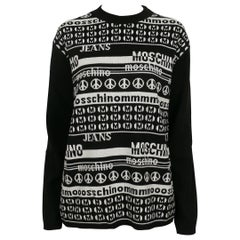 Moschino Vintage Black and White Computer Screen Wool Light Sweater Size L