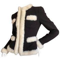 Moschino Vintage Black Boucle Jacket with Mink Fur Trim