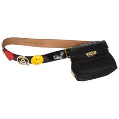 Moschino Vintage black Mini Belt Bag with Peace / Love Belt