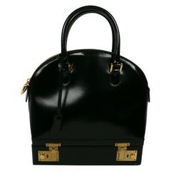 Moschino Vintage Black Patent Leather Sac Mallette Top Handle Bag