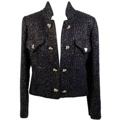 Moschino Vintage Black Tweed Jacket with Jeweled Buttons Size 44