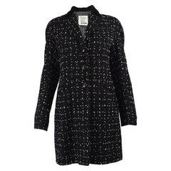 Moschino Vintage Black & White Bouclé Cashmere Tweed Coat, 1990s