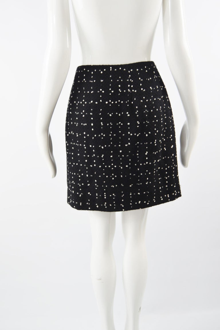 Moschino Vintage Black & White Cashmere Tweed Skirt For Sale 3