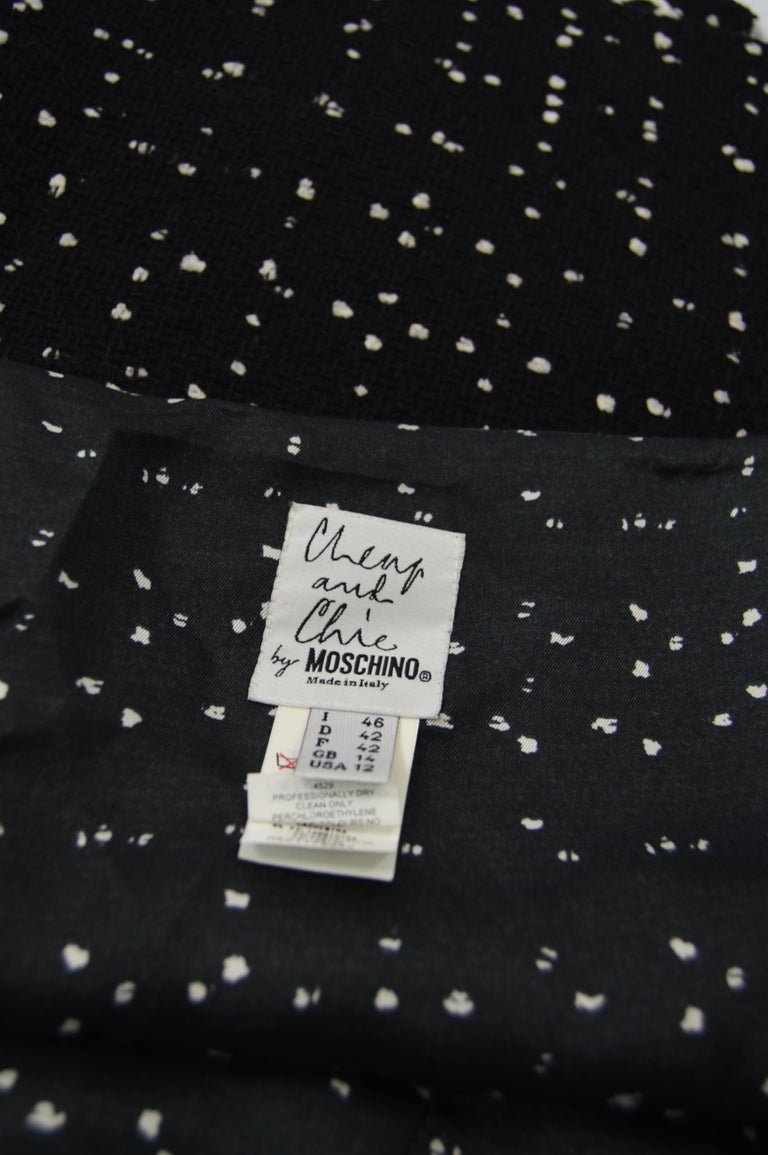 Moschino Vintage Black & White Cashmere Tweed Skirt For Sale 4