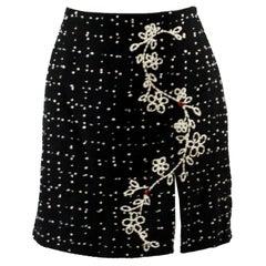 Moschino Vintage Black & White Cashmere Tweed Skirt