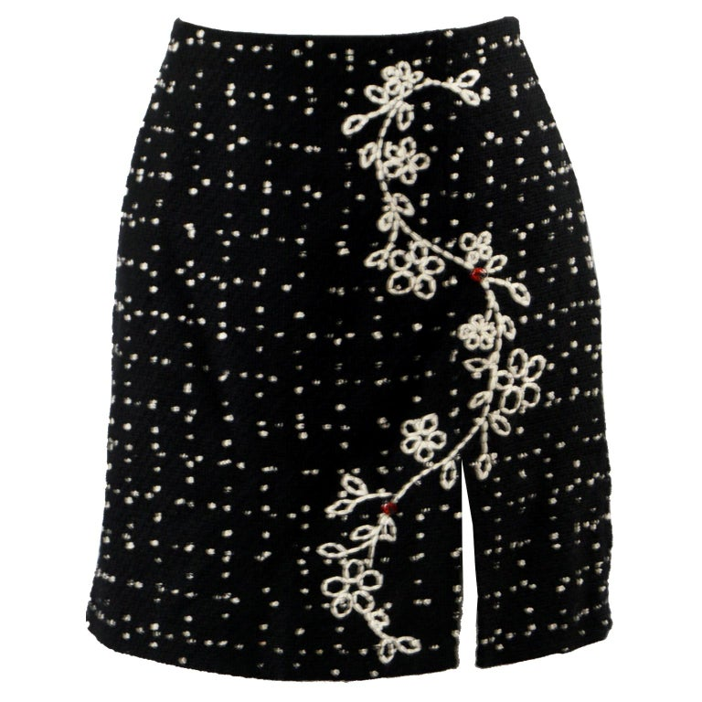 Moschino Vintage Black & White Cashmere Tweed Skirt For Sale