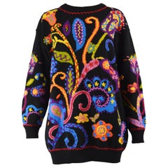 Moschino Vintage Colorful Embroidered Black Wearable Art Wool Sweater, 1980s