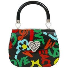 Moschino Vintage Graffitis Non E Tutt'Oro Quello Che Luccia Leather Handbag