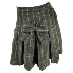 Moschino Vintage Green Wool Plaid Skirt with Pleated Bustle Bow Back