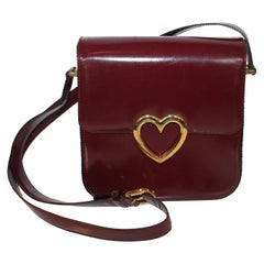 Moschino Vintage Heart Black Leather Crossbody