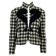 Moschino Vintage Houndstooth Wool Jacket with Velvet Question Mark US Size 10