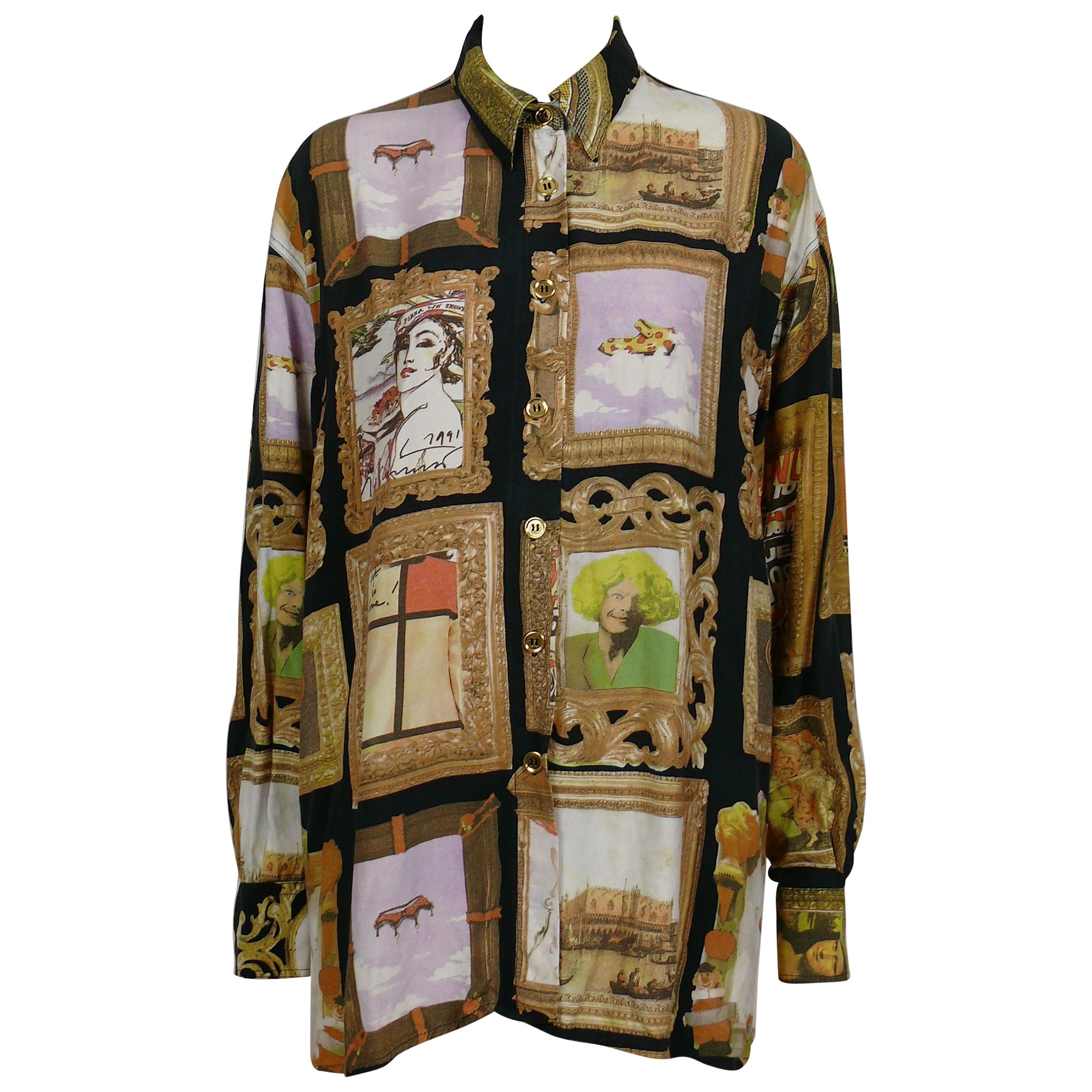 Moschino Vintage Iconic 90s Frame Art Gallery Shirt Size L