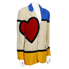 Moschino Vintage Iconic Art is Love Mondrian Heart Blazer Jacket US Size 12