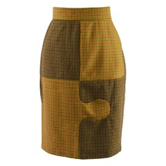 Moschino Vintage Iconic 'Jigsaw' Panelled Wool Womens Knee Length Skirt, 1980s
