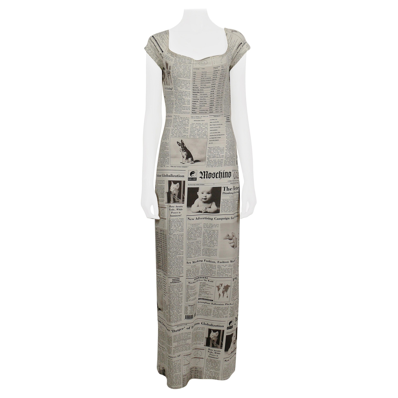 Moschino Vintage Iconic Newspaper 'Moschino Tribute' Print Maxi Dress US Size 8