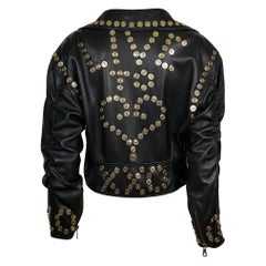 Moschino Vintage Live Is... Black Leather Cropped Biker Jacket