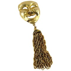 Moschino Vintage Massive Gold Toned Comedy Mask Brooch