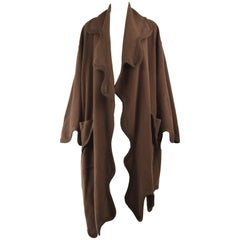 Moschino Vintage Melting Chocolate Brown Wool & Cashmere Shawl Cape Coat, 1990s