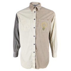 Moschino Vintage Mens Embroidered Cord Shirt